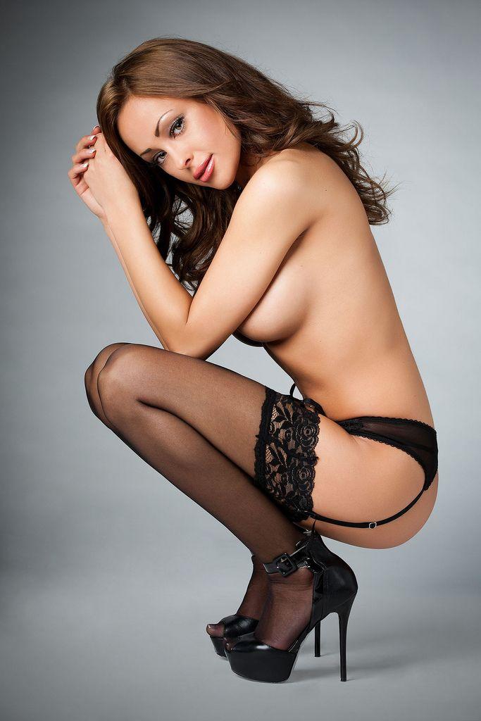 Nude black women stockings and heels
