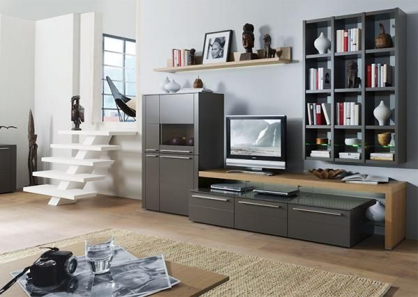 bellano wall storage unit with booksheld u0026 display cabinet in taupe matt lacquer and beech hardwood