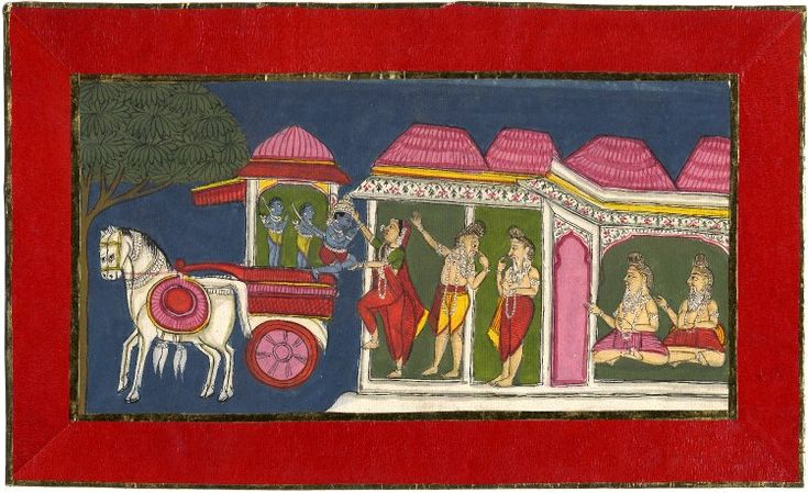An illustration from the Ramayana. Sīta entrusting Kusa and Lava to Hanuman.(18eme)
