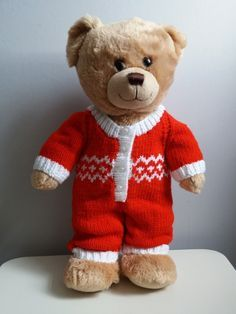 A festive onesie for build a bears Free knitting pattern
