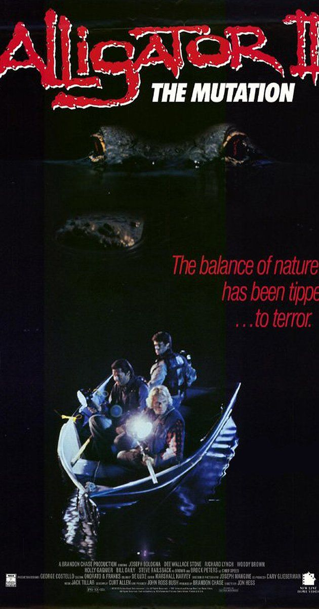Directed by Jon Hess.  With Joseph Bologna, Dee Wallace, Richard Lynch, Woody Brown. A giant alligator runs riot in a small town with a lake connected to a sewer/drainage system. Typical plot; nobody believes the sightings until lots of people have been killed.