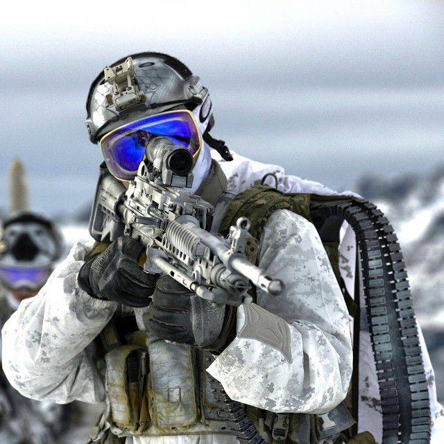 """""""Navy SEAL's from the Naval Special Warfare Community demonstrate winter warfare capabilities for a TV commercial produced by the Navy Recruiting Command…"""""""