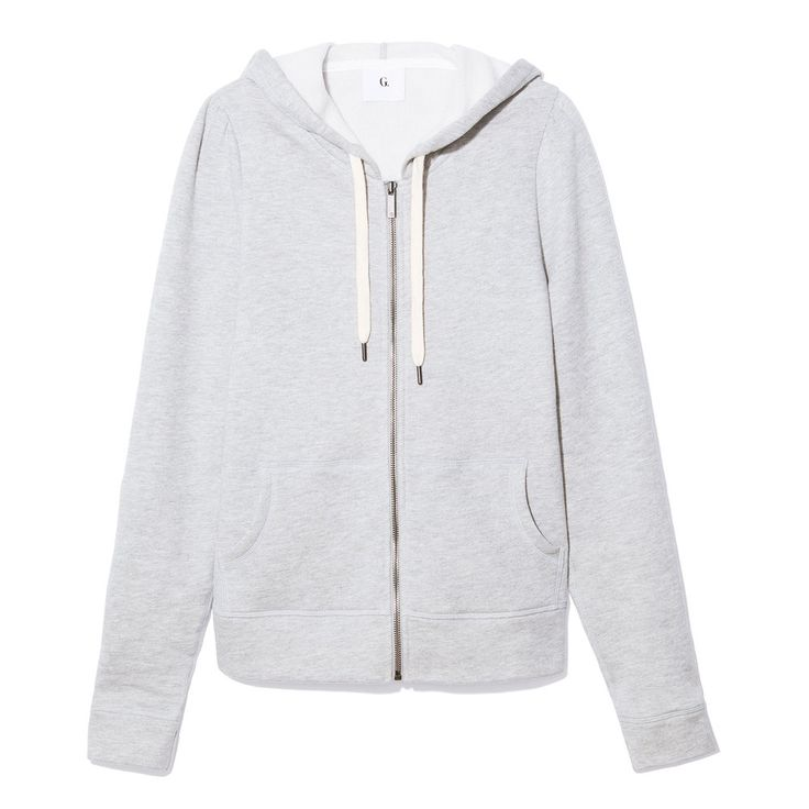 """Taking a cue from retro gym-class gear, the body of this dual-pocket zip-up hoodie was kept purposefully snug. On the flip side, subtle """"G"""" embossing, and..."""