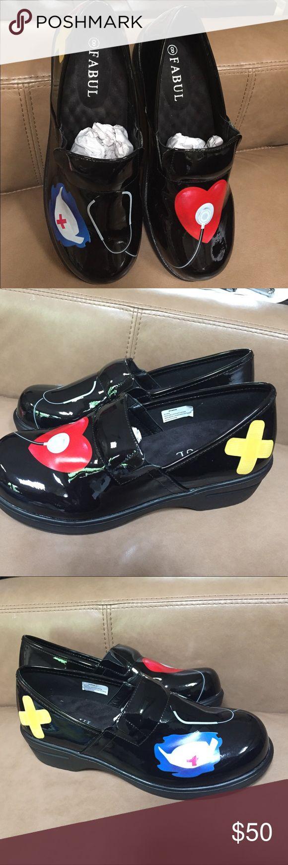 Nurse shoe Nurse shoe, black with heart & stethoscope.  Brand new Fabul Shoes