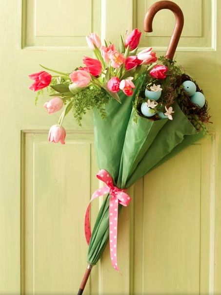 Umbrella door decor. Cute for spring or for a bridal shower.