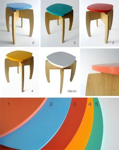 banqueta isi colores / diseño / original / madera / apilable $640