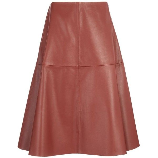 Joseph Glove Leather Nadege Skirt in CHESTNUT found on Polyvore featuring skirts, leather, chestnut, a line skirt, knee length a line skirt, leather skirt, panel skirt and red a line skirt