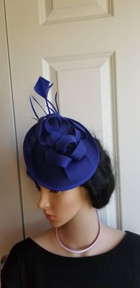 3e9130592348a Kentucky Derby Hats · Elegant royal blue Fascinator! Classic style to go  with a variety of outfits  bridesmaids