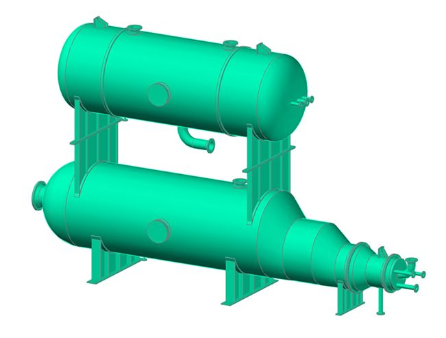Here is one of my latest CADWorx creations. It's an over and under PRESSURE VESSEL. The one one top is a BOILER, with a THERMAL OXIDIZER on bottom. I built in CADWorx Equipment.