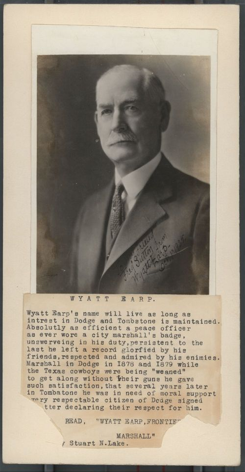 Wyatt Earp | of wyatt earp signed to my friend fred sutton from wyatt earp ...