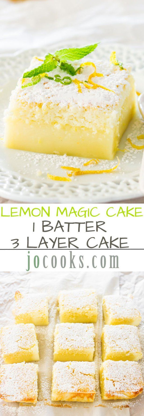 Lemon Magic Cake Recipe via Jo Cooks - one simple batter that turns into a 3 layer cake. Simply magical. The popular magic cake now in lemon flavor. The BEST Easy Lemon Desserts and Treats Recipes - Perfect For Easter, Mother's Day Brunch, Bridal or Baby Showers and Pretty Spring and Summer Holiday Party Refreshments!