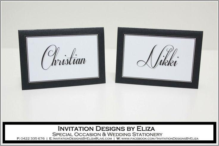 Place Card Design {Wedding} Black & White Theme www.facebook.com/InvitationDesignsByEliza
