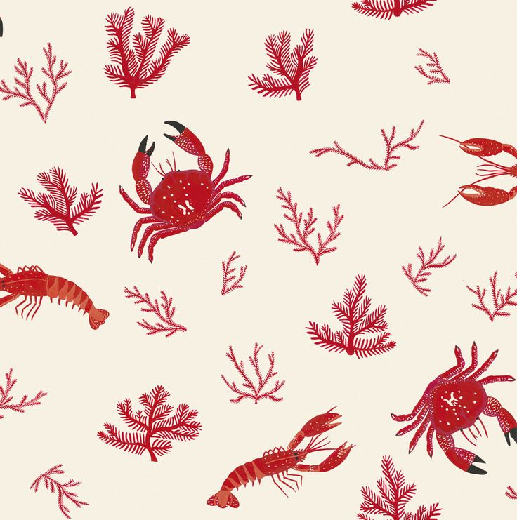 Crustaceos Red wallpaper by Coordonne