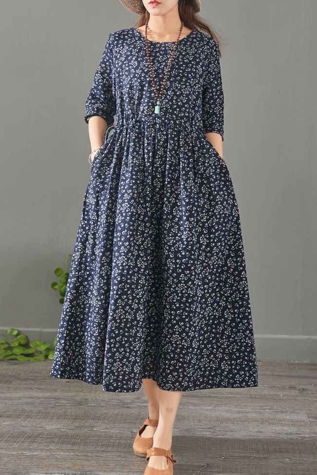c6509c189a Loose Floral Cotton Linen Maxi Dresses For Women 1527