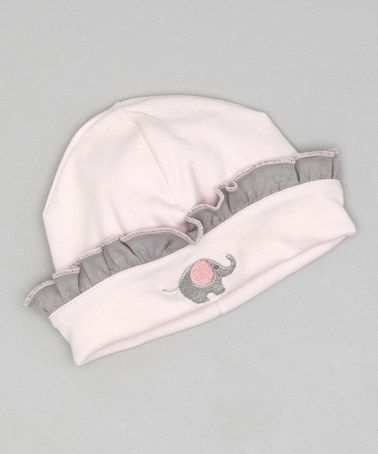 Take a look at this Pink & Gray Elephant Ruffle Beanie by Hug Me First on #zulily today!