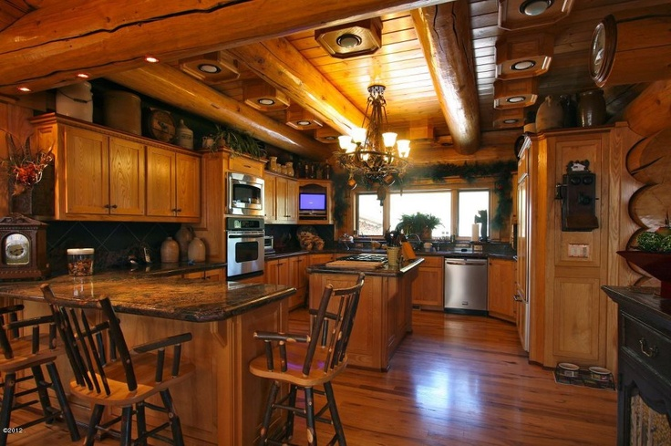 Beautiful Log Home Kitchendining Room Design From