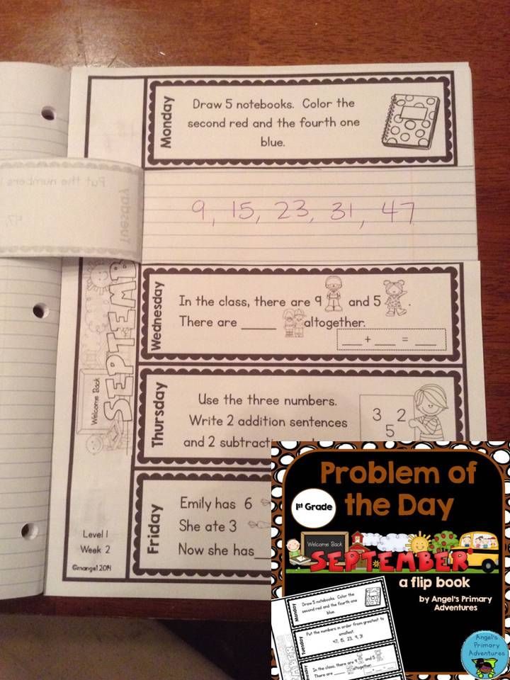 Math Problem of the Day for First Grade! Includes activities for patterning, ordering numbers, addition and subtraction and ordinal numbers. Created in a flip book style to use in a Math notebook. $