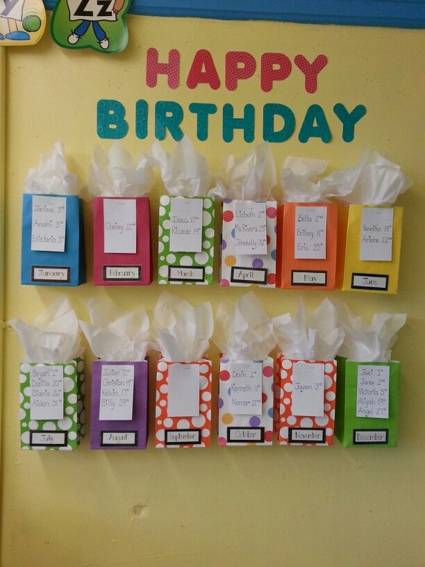 This is a cute student birthday display that was created using colorful gift bags and tissue paper. I like that it could be customized to match any classroom color scheme or theme by picking bags and tissue that coordinate. Pinned by The Clutter-Free Classroom www.CFClassroom.com