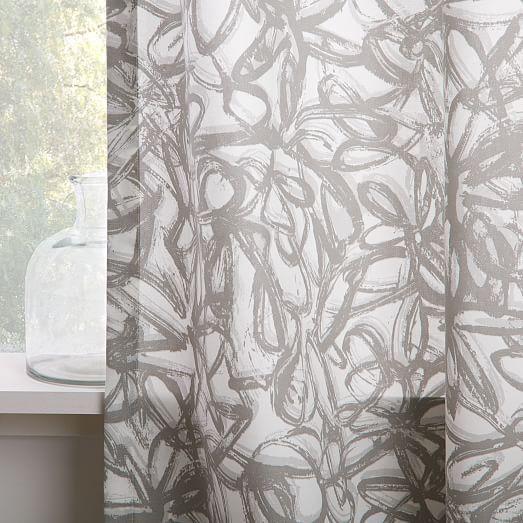 Cotton Canvas Graffiti Print Curtain - Platinum | west elm