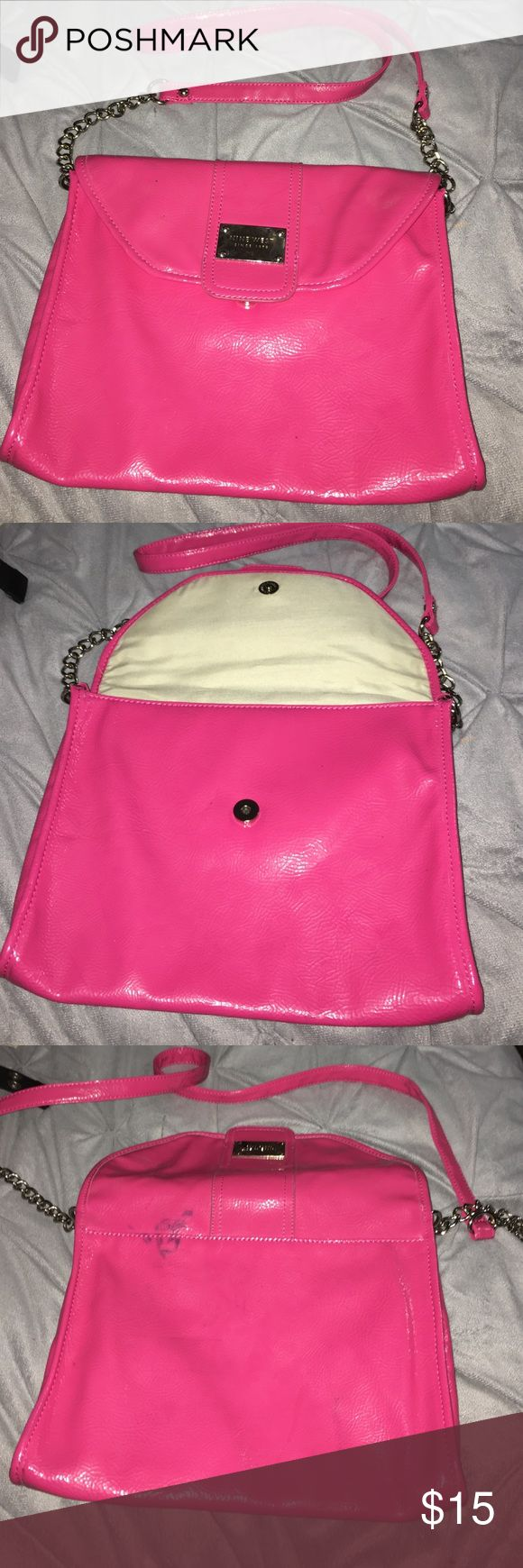 Nine West purse Nine West purse hot pink very cute has a blue stain can be removed by cleaners. Nine West Bags Satchels