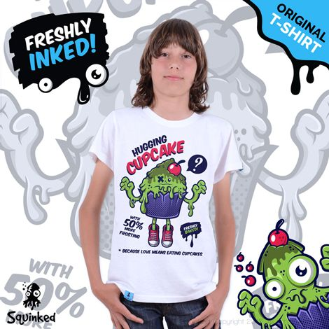 Green Hugging Cupcake... *Squinked T-shirt for boys! *Tricou Squinked pentru baieti!
