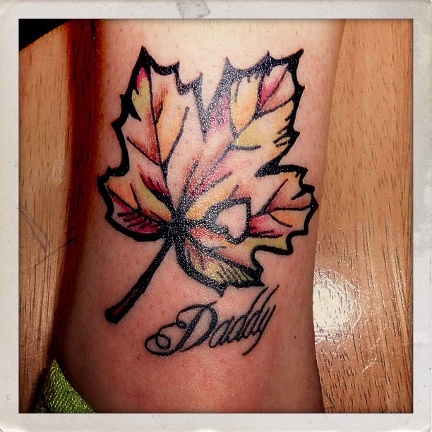 Autumn leaf tattoo by tattootarot love the heart cut out for Fall tree tattoo