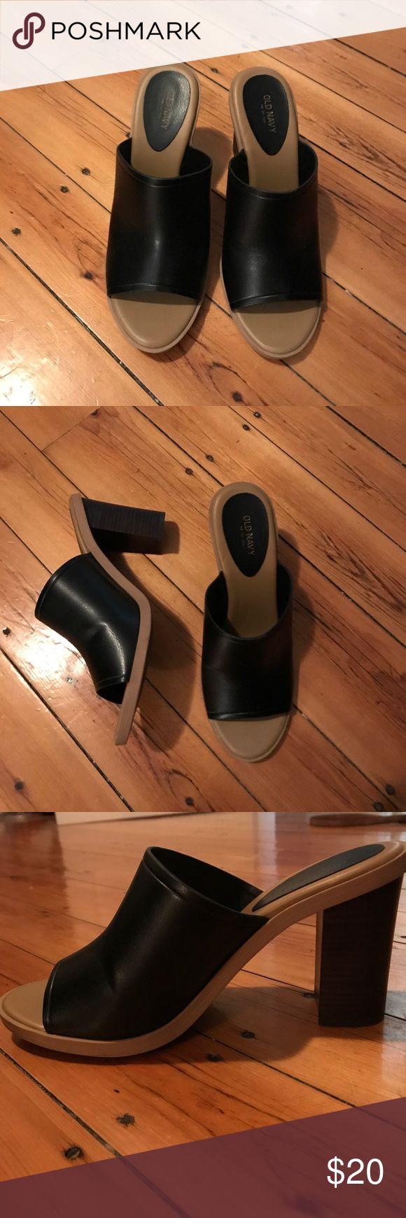 Black heeled Old Nacy mule sandals Very cute, never worn Old Navy heeled mule sandals! Old Navy Shoes Sandals