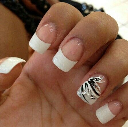 white french tips #nails but instead of black I want the color of my wedding