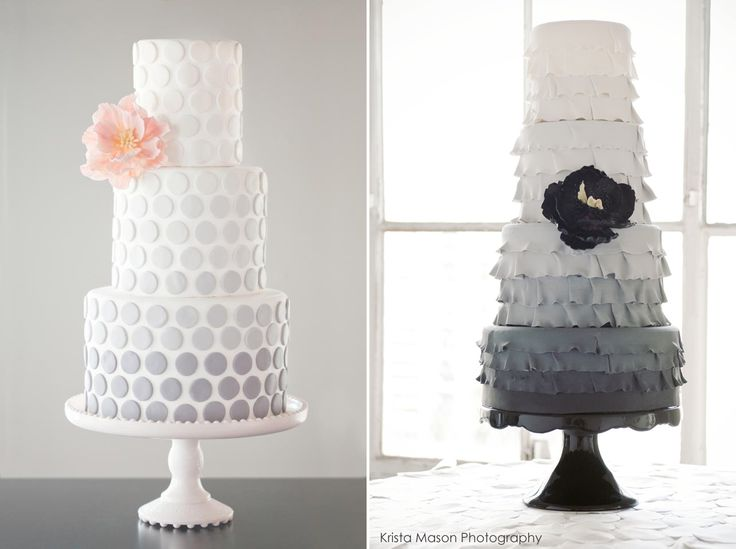 I love Grey! 1. Cake: Wild Orchid Baking | 2.Cake: Superfine Bakery | Photography: Krista Mason