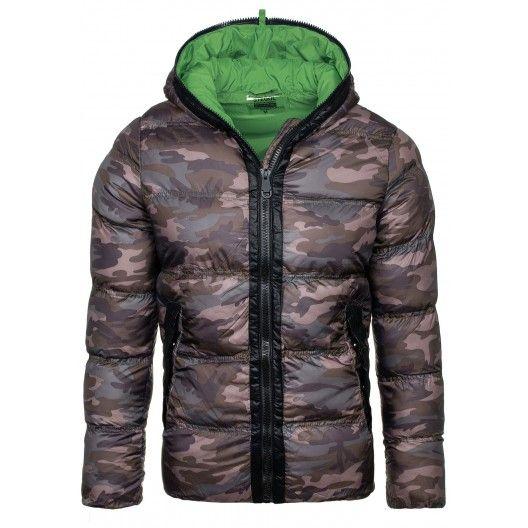 Maskáčová zimní pánská bunda se zeleným vnitřkem a kapucí - manozo.cz