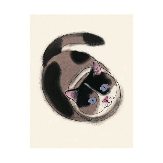 Cat Art illustration tortoiseshell cat   You are by matouenpeluche, $17.00