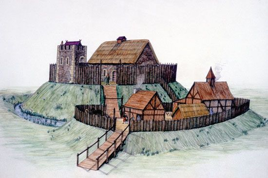 motte and bailey castles | Figure - A reconstruction of Clough Motte and Bailey castle, Co Down ...