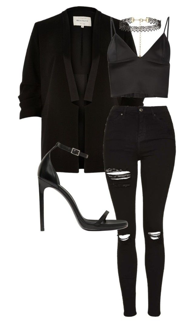 """""""Sexy as hell"""" by casualbae123 ❤ liked on Polyvore featuring River Island, T By Alexander Wang, Topshop, New Look and Yves Saint Laurent"""