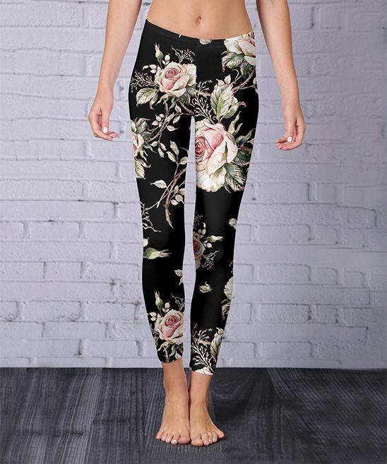 Black Rose Leggings - Plus Too
