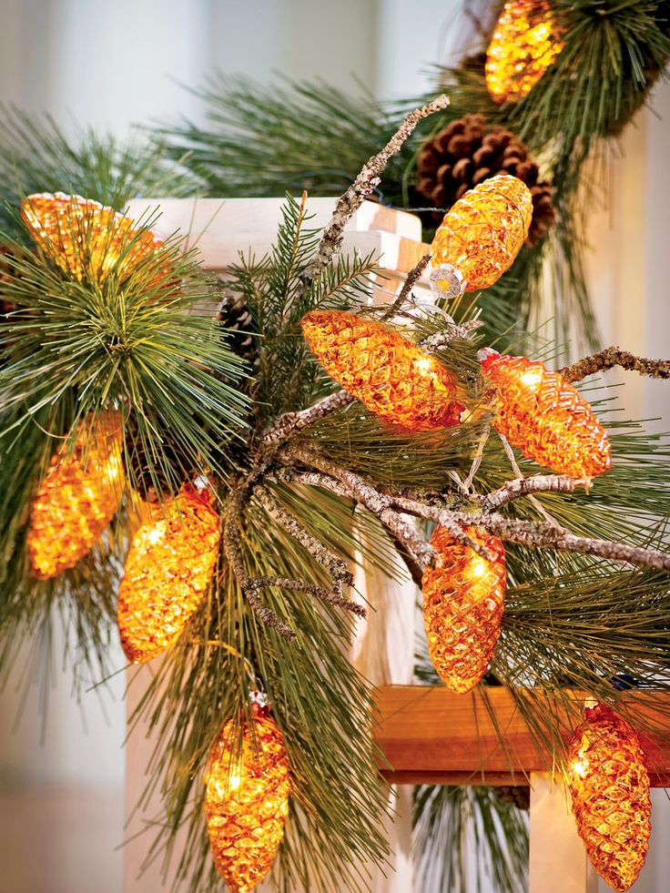 LED String Lights: Pinecone Mercury Glass, Battery Operated