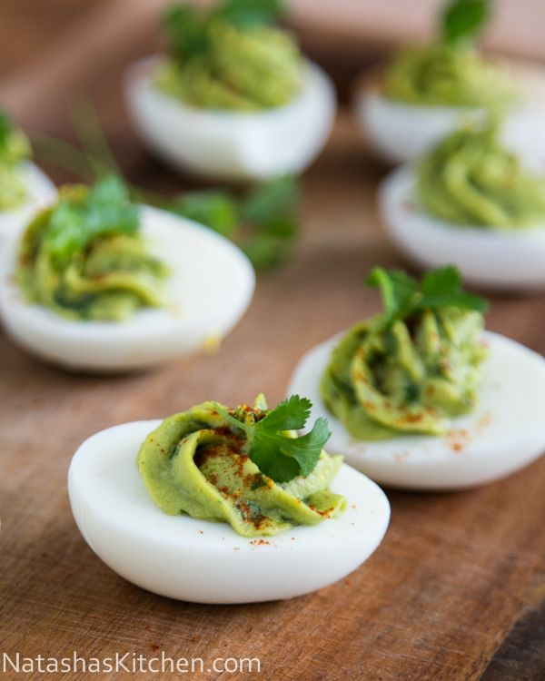 Guacamole Stuffed Eggs Recipe. So good!  @NatashasKitchen