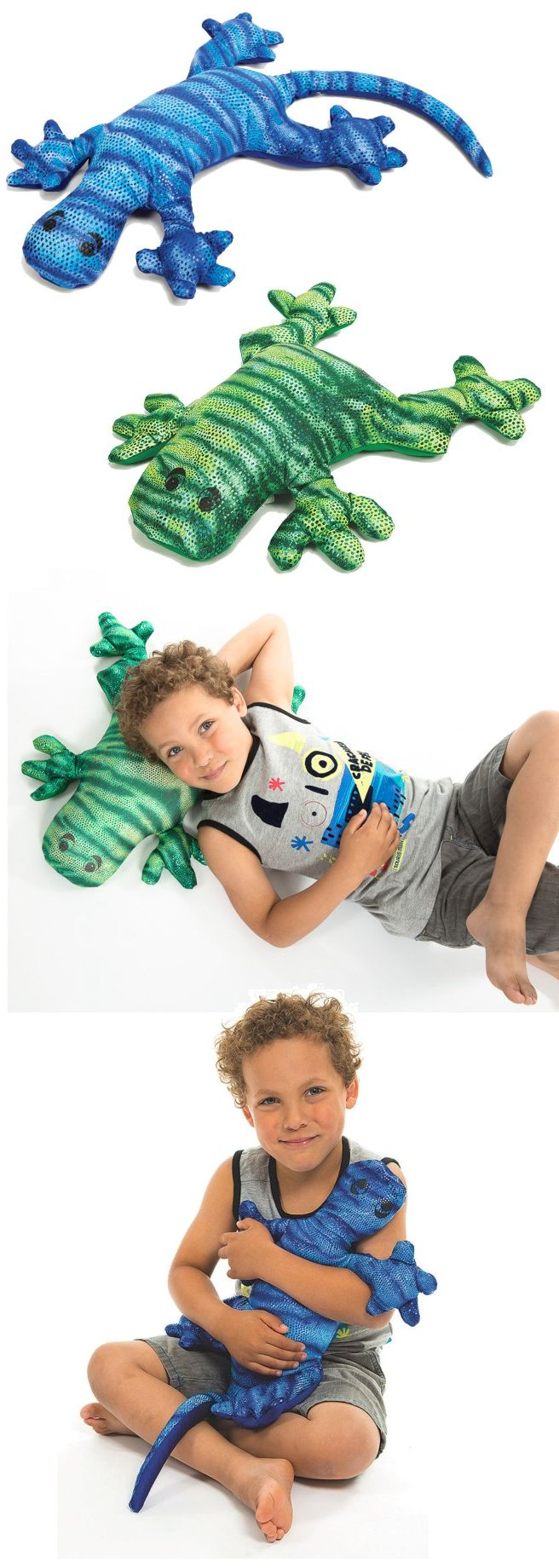 NEW Manimo™ Weighted Blue Lizard and Green Frog provide deep pressure and weight that ease muscle tension and help with calming and relaxing. The non-toxic plastic pellets inside provide gentle tactile stimulation.