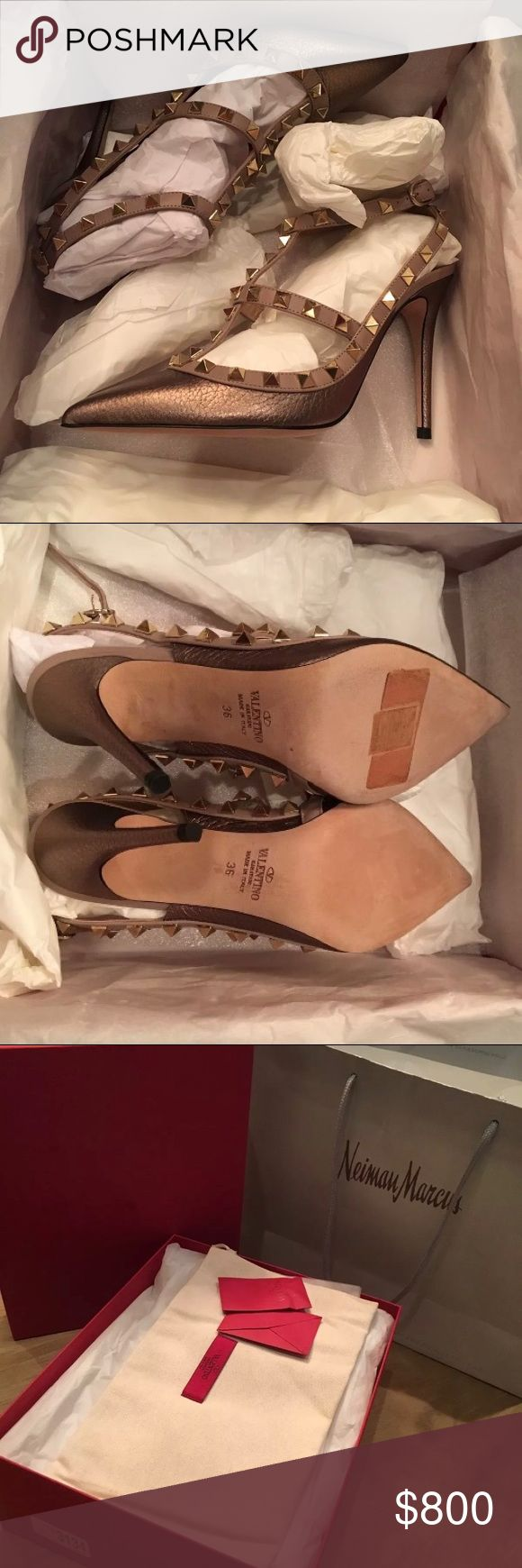 Valentino Taupe Pebbled Rockstud Pump New in box. Purchased at Neiman Marcus. I've only worn these once they're a little too small which is why I'm selling. Price tag is still on box. They retail for $1045 but I paid around $1200 including tax. Valentino Shoes Heels