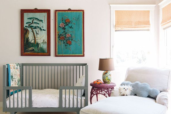 The Oeuf Sparrow toddler bed and RH Baby camelback chaise provide Ferris with plenty of places to snuggle.