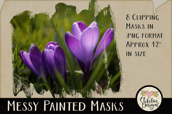 Messy Painted PS Clipping Masks by Clikchic Designs on @creativemarket
