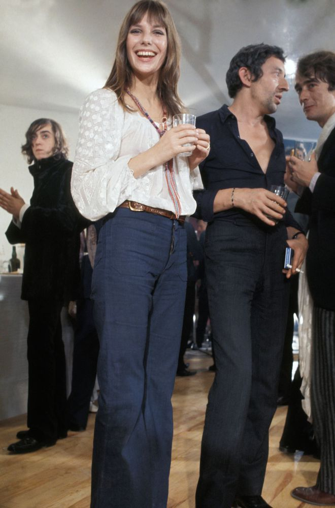 Jane Birkin style look années 1970 jean