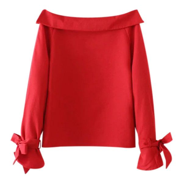 Bowknot Off Shoulder Blouse Red (€25) ❤ liked on Polyvore featuring tops, blouses, off the shoulder blouse, red off shoulder top, red blouse, off the shoulder tops and red off the shoulder top