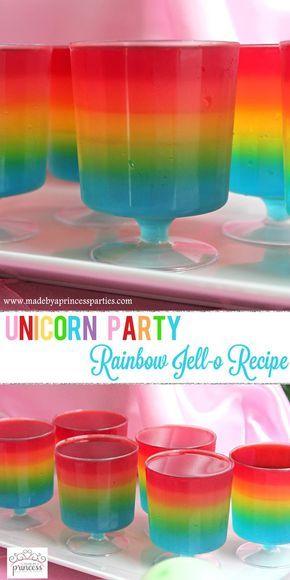Unicorn Party Rainbow Jello Recipe pin-it