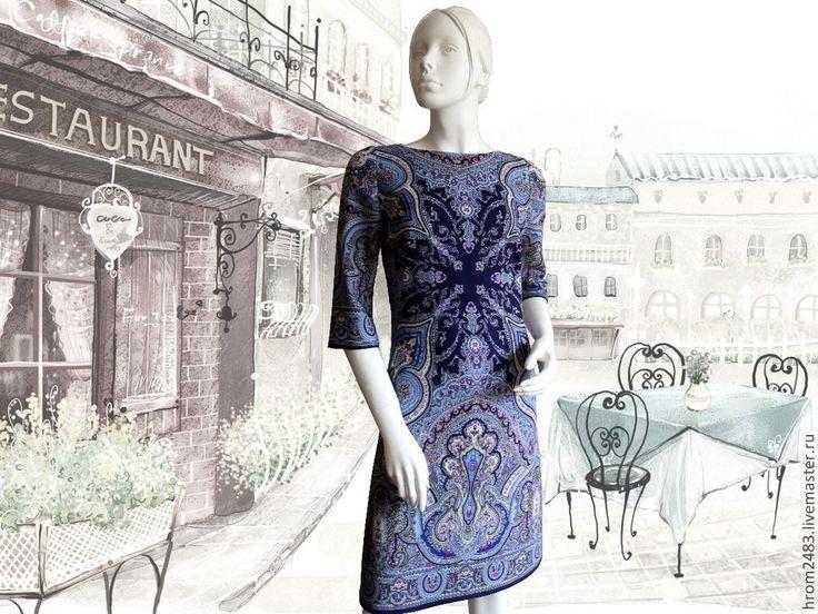 """Купить Платье """"Испанский танец"""" из Павловопосадских платков """" - синий, голубой, темно-синий, белый"""
