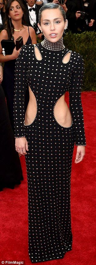 Punk was two years ago!: Miley Cyrus appeared to have the theme mixed up in studded Alexan...