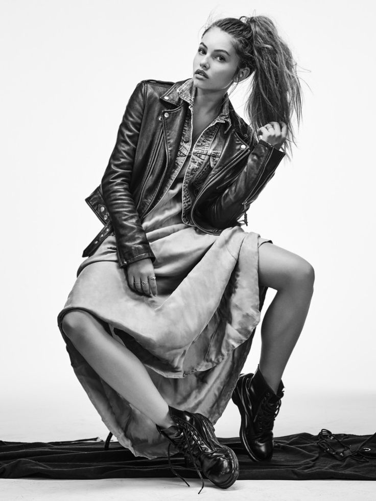 Thylane Blondeau wears BLK DNM leather jacket, AG denim jacket, Johnny Was dress and Dr. Martens boots