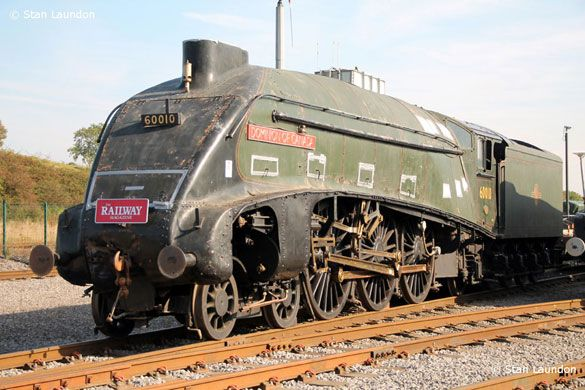 """The Gresley designed A4 4-6-2 Pacific Steam Engine 60010, aka the """"Dominion of Canada"""" is pictured here a bit mussy upon arrival at Locomotion, the National Railway Museum located in Shildon. Photo taken in early October, 2012."""