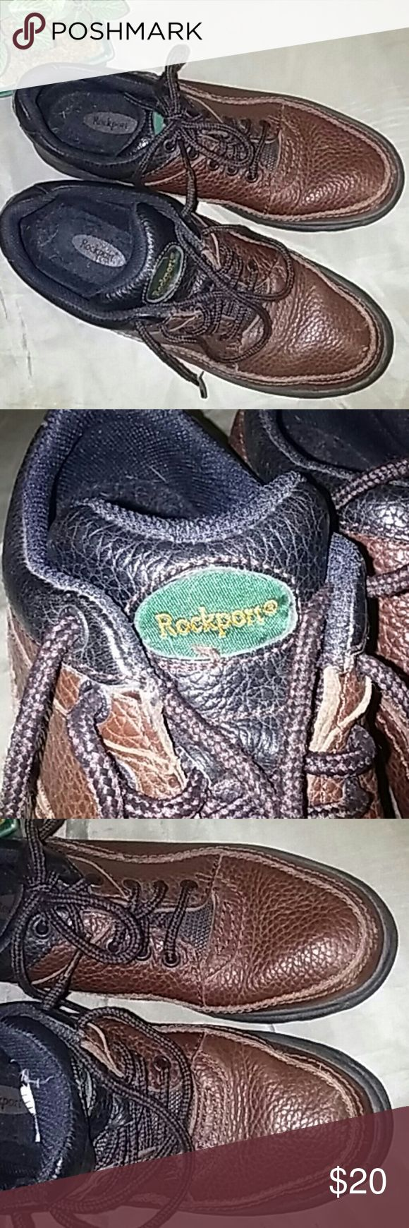 Rockport shoes Upper is leather and balance is man made. The shoes have seen some love but have plenty of life left in them.... these last forever! These shoes are thick sturdy and comfortable. Rockport Shoes Sneakers