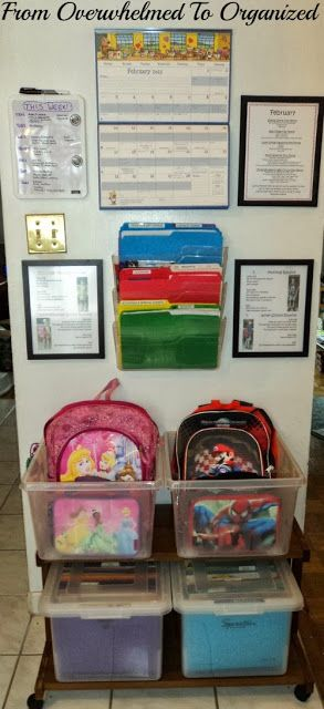 From Overwhelmed to Organized: Organizing My Home- Idea for Kids School stuff. Storage for back pack, Calendar to track events and file away important papers/projects from the school year. and a place for reminders