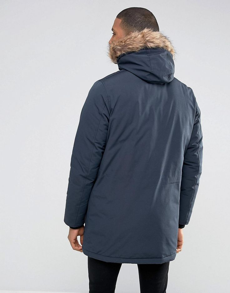 Thereadbare Faux Fur Parka - Navy